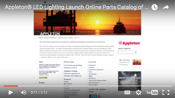 Appleton® LED Lighting Launch Online Parts Catalog of 3D CAD