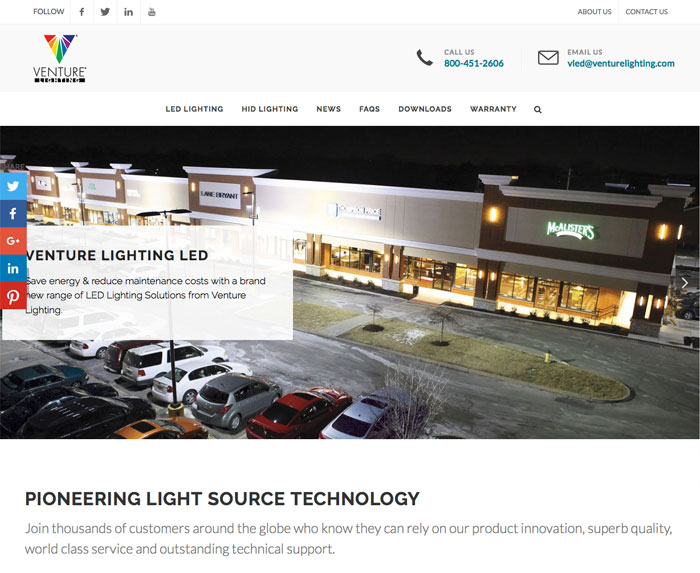 VENTURE LIGHTING INTERNATIONAL an innovation-driven designer manufacturer and marketer of energy efficient lighting products components ...  sc 1 st  Electrical Line Magazine & Venture Lighting Launches New Website with Expanded Range of LED ... azcodes.com